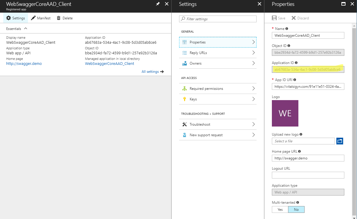 Enable Swagger to authenticate against Azure AD (Revised